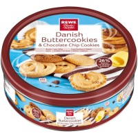 REWE - Beste Wahl Danish Buttercookies & Chocolate Chip Cookies 500g